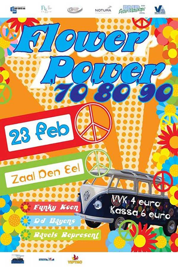 Flower Power Party bij VC Power op 23 februari.